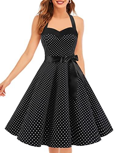 Dresstells Neckholder Rockabilly 50er Polka Dots Punkte 1950er Kleid Petticoat Faltenrock Black Small White Dot L