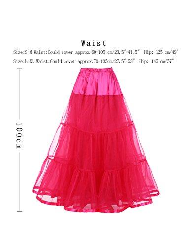 Dresstells Knöchellang Petticoat Reifrock Unterrock Underskirt Crinoline für Hochzeitskleider Rose L-XL - 4
