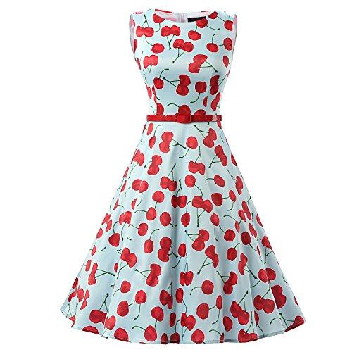 Dresstells 50er Retro Audrey Hepburn Schwingen Pinup Polka Dots Rockabilly Kleid Cherry Blue M