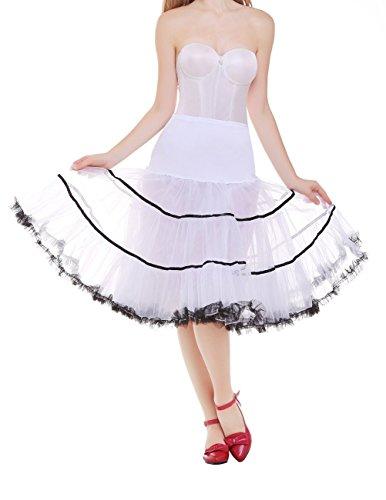 Dresstells 50s Petticoat Reifrock Unterrock Petticoat Underskirt Crinoline für Rockabilly Kleid White Black