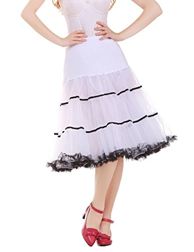 Dresstells 50s Petticoat Reifrock Unterrock Petticoat Underskirt Crinoline für Rockabilly Kleid White Black - 2