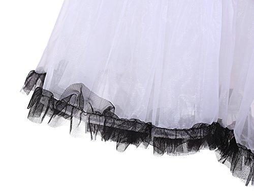 Dresstells 50s Petticoat Reifrock Unterrock Petticoat Underskirt Crinoline für Rockabilly Kleid White Black - 7