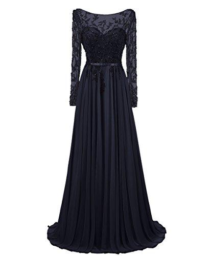 Dresstells Damen Langer Ärmel Rückenfreie Abendkleider Promi-Kleider Marineblau Größe 44