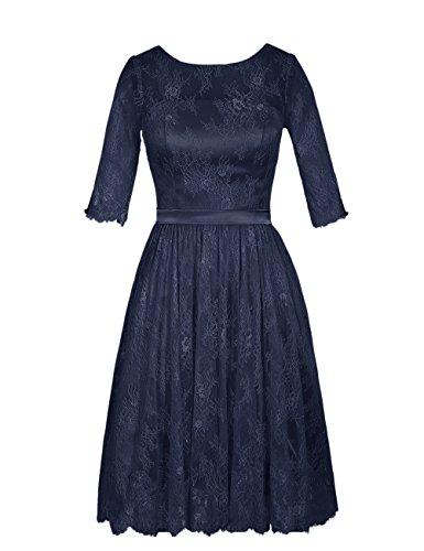 Dresstells Damen 1/2 Ärmel Homecoming Kleider Brautjungfernkleider Mit Spitze Marineblau Größe 40