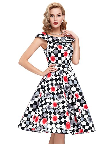 Damen Sommerkleid Party Kleid Ohne Arm Swing Kleid Knielang L BP044-2