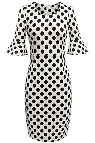 Damen Polka Dots Kleid Pencil Bleistift Kleid Cocktail Abendkleid knielang Ärmel