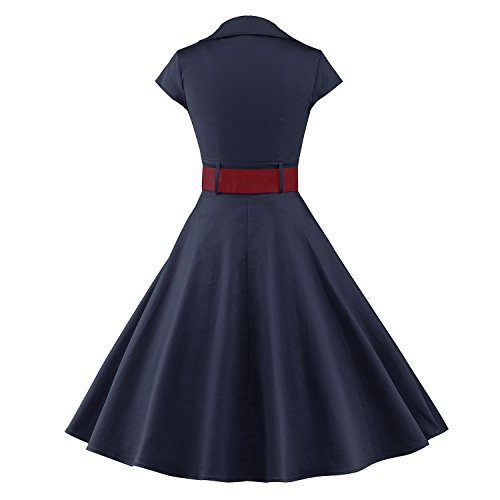 iLover 50s Retro vintage Rockabilly kleid Hepburn Stil shirt Partykleid Cocktailkleid - 3