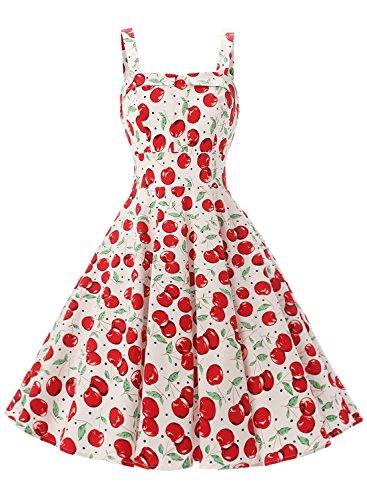 Rockabilly Vintage 50er Jahre Polka Dots Kleid knielang mit Faltenrock