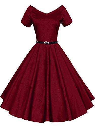 ILover Frauen 1950er V Ausschnitt Vintage Rockabilly Swing Abend Partei Kleid Wieinrot