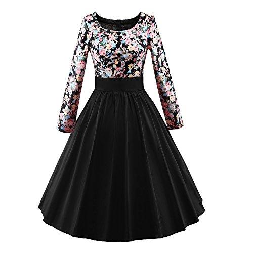 iLover Frauen 1950 Vintage Blumenkleid Langarm Plissee drucken Swing Kleid