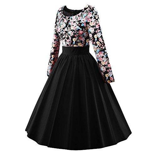 iLover Frauen 1950 Vintage Blumenkleid Langarm Plissee drucken Swing Kleid - 2