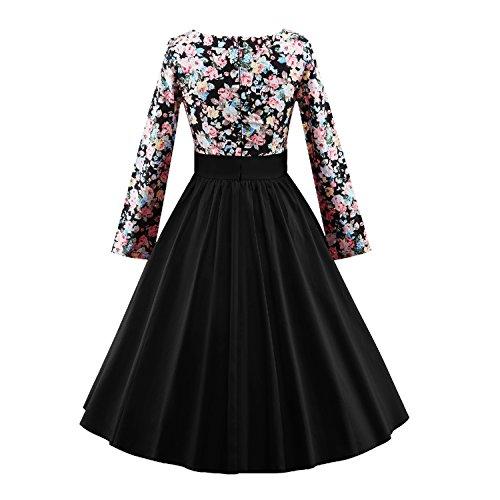 iLover Frauen 1950 Vintage Blumenkleid Langarm Plissee drucken Swing Kleid - 3