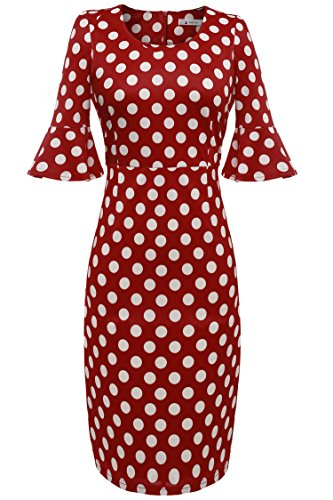 ANGVNS Damen Polka Dots Kleid Pencil Bleistift Kleid Cocktail Abendkleid knielang Ärmel