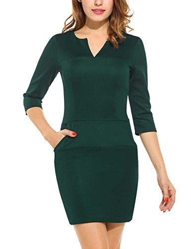 Angvns Damen Kleid Vintage V-Ausschnitt Kurzarm Business Rockabilly Cocktailkleider Partykleider Dunkelgrün S