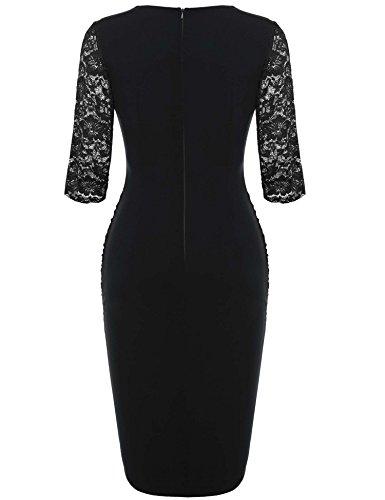 ANGVNS Damen Abendkleid V-Ausschnitt Kleid Spitzen 3/4 Arm Wickelkleid Etuikleid Cocktailkleid -
