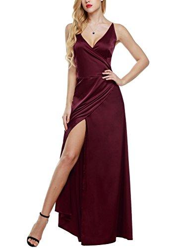 ANGVNS Damen Elegant Cocktailkleid V-Ausschnitt Rückenfrei Abendkleid Lang Party Ballkleid