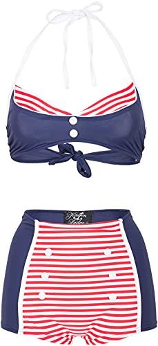 Küstenluder CANDIE 50s Sailor Striped Vintage Nautical Pin Up BIKINI Set Rockab