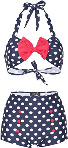 ac402ec26218d Küstenluder MADIE 50s RETRO Polka Dots PUNKTE Bow Pin Up BIKINI Set  Rockabilly
