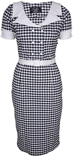 Küstenluder DULCIE Pepita GINGHAM 50s Retro PENCIL DRESS Kleid Rockabilly