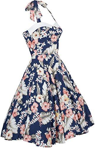 Rockabill Wanda Kleid Küstenluder Swing Aloha Neckholder Hibiscus Dress Vintage 3R4LAj5