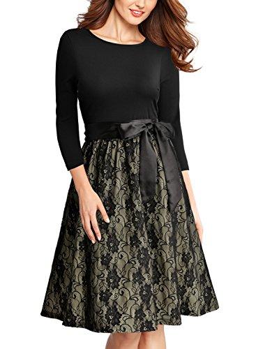 Miusol Elegant Vintage Spitzenkleid 3/4 Arm Hochzeit Brautjungfer Schleife Abendkleider