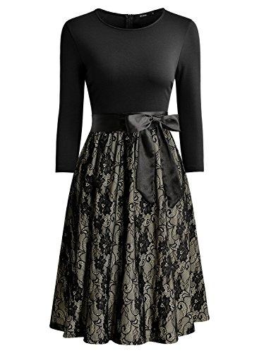 new style 60bac 53d5a Miusol Elegant Vintage Spitzenkleid 3/4 Arm Hochzeit Brautjungfer Schleife  Abendkleider