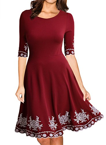 Miusol Abendkleid Sommer Kurz Vintage Rockabilly Kleid Cocktail Ballkleid