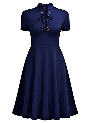 MIUSOL Damen Kurzarm Abendkleid Cocktailkleid Sexy Mini Sommer kleid Ballkleid Blau Gr.XXL - 2