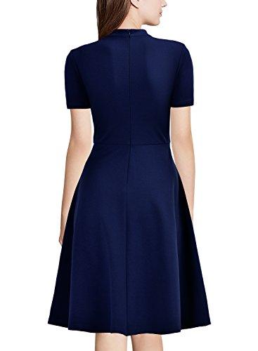 MIUSOL Damen Kurzarm Abendkleid Cocktailkleid Sexy Mini Sommer kleid Ballkleid Blau Gr.XXL - 3