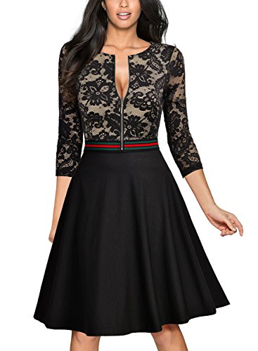 Miusol Elegant Spitzenkleid Abendkleid Reissverschluss vorne Knielang Cocktailkleid