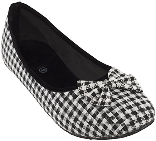 Cute GINGHAM Pepita Scot 50s Vintage Canvas Schuhe BALLERINAS Flats Rockabilly