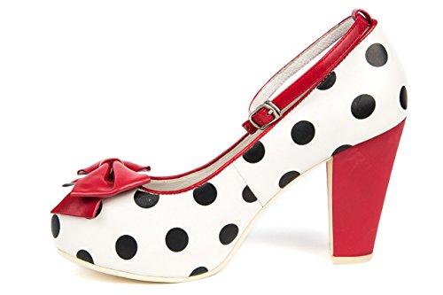 Lola Ramona Pumps Vintage Schuhe Riemchenpumps weiß rot gepunktet