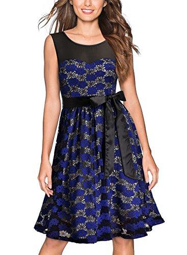 Miusol Abendkleid mit Spitze ärmellos Hochzeit oder Brautjungfer Sommerkleid Ballkleid Blau