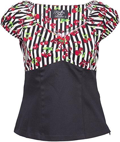 Küstenluder SHEILA Striped Streifen CHERRY Kirschen Retro Bluse SHIRT Rockabill