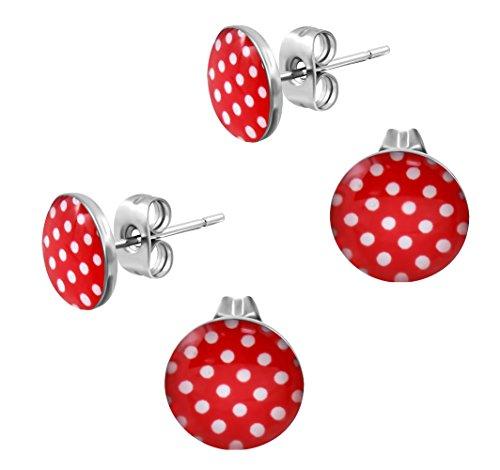 Ohrstecker Polka Dot Rot Weiße Punkte - Rockabilly Ohrringe für Damen Ø 10mm Edelstahl