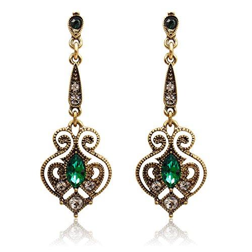 LARESDOMI Vintage Ohrringe goldfarben Kristall Verkrustet Simulierte Grün Turmalin Classic Georgian Drop Ohrringe