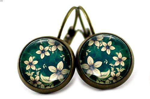 Ohrringe mit Blumen Ranken Motiv Ohrhänger Brisuren / Farbe der Fassung wählbar (bronze)