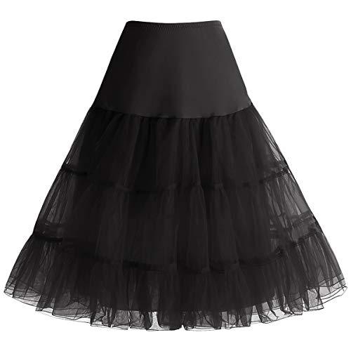 Bbonlinedress Organza 50s Vintage Rockabilly Petticoat Underskirt Black M