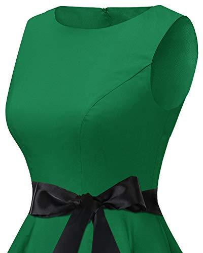 Bbonlinedress 50s Retro Schwingen Vintage Rockabilly kleid Faltenrock Green 3XL - 5