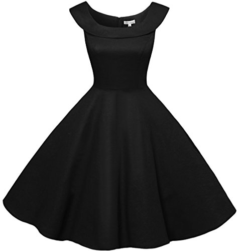 Bbonlinedress 50s Vintage Retro U-Ausschnitt Rockabilly Cocktail Party Kleider Schwarz
