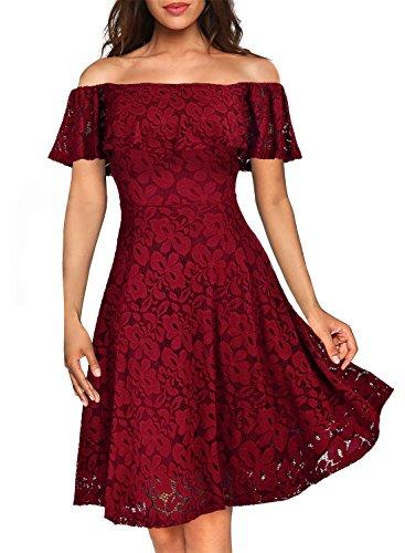 MIUSOL Damen Vintage 1950er Cocktailkleid Retro Spitzen Off Schulter Schwingen Pinup Rockabilly Abendkleid Rot Gr.S