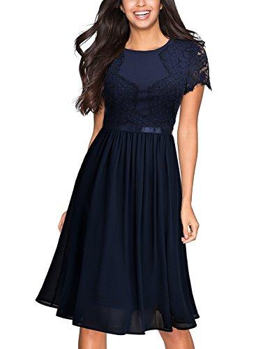 Vinatge Damen Abendkleid Chiffon Kleider Festlich Blau Miusol v0Nmn8w