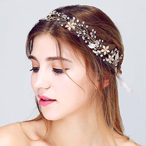 ᐅ Brautschmuck Vintage Kristall Pearl Vine Haarbander Hochzeit Haar