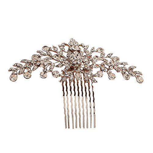 Contever Vintage Rose Golden Simulated Crystal Side Combs Bridal Headpiece Wedding Accessories by Contever
