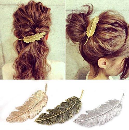 CINEEN 3 Farben Metall Feder Blatt Haarklammern Vintage Blatt förmigen Haarspangen Haarschmuck Kopfschmuck Haar Zubehör