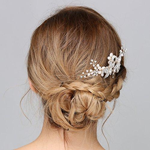 ᐅ Braut Vintage Silber Haar Kamm Crystal Strass Perle Blume