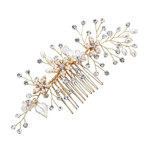 Vintage Gold Zweig Kristall Perle Seite Kämme Braut Kopfschmuck Hochzeit Zubehör