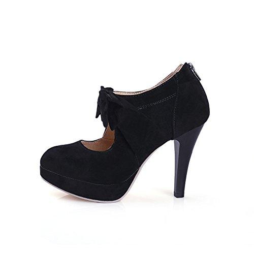 LATH.PIN® Vintage Damen Schuhe Pumps High Heels Beige Brautschuhe mit Schleife Stilettosabsatz Schwarz