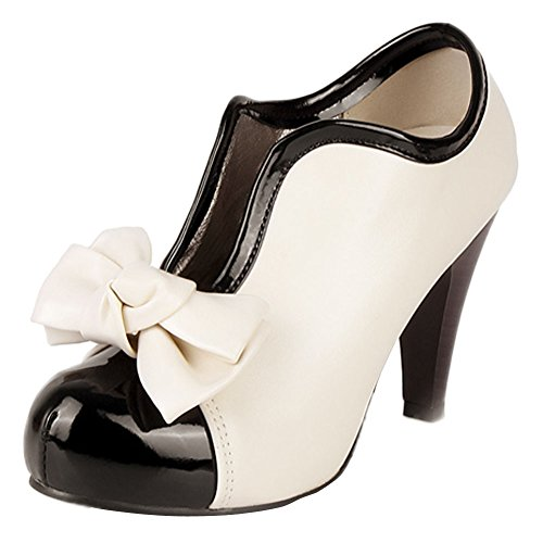 Minetome Damenschuhe Vintage Bogen Pumps High Heels Beige Creme Ankle Boots Stiefeletten Stilettosabsatz Winterstiefel ( EU 39 )