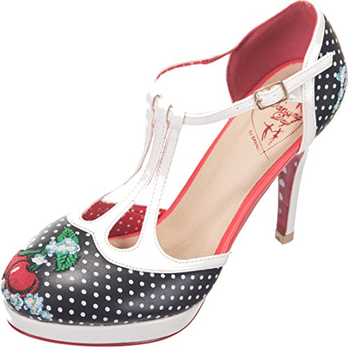 Dancing Days RUBY Vintage 40s T-Strap Pin Up Polka Dots Pumps HIGH HEELS